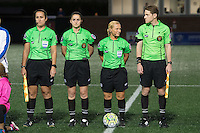 Allston, MA - Saturday Sept. 24, 2016: Assistant Referee Amanda Ross, Fourth Official Kali Langevin, Referee Karen Abt, Assistant Referee Tom Felice prior to a regular season National Women's Soccer League (NWSL) match between the Boston Breakers and the Western New York Flash at Jordan Field.
