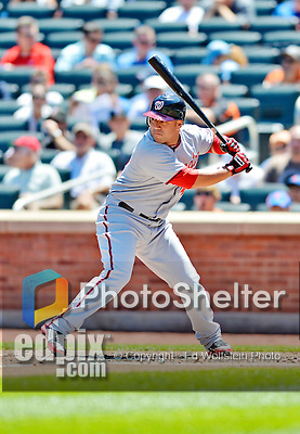 25 July 2012: Washington Nationals catcher Sandy Leon in action against the New York Mets at Citi Field in Flushing, NY. The Nationals defeated the Mets 5-2 to sweep their 3-game series. Mandatory Credit: Ed Wolfstein Photo