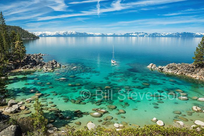A sailboat at Secret Cove at Lake Tahoe