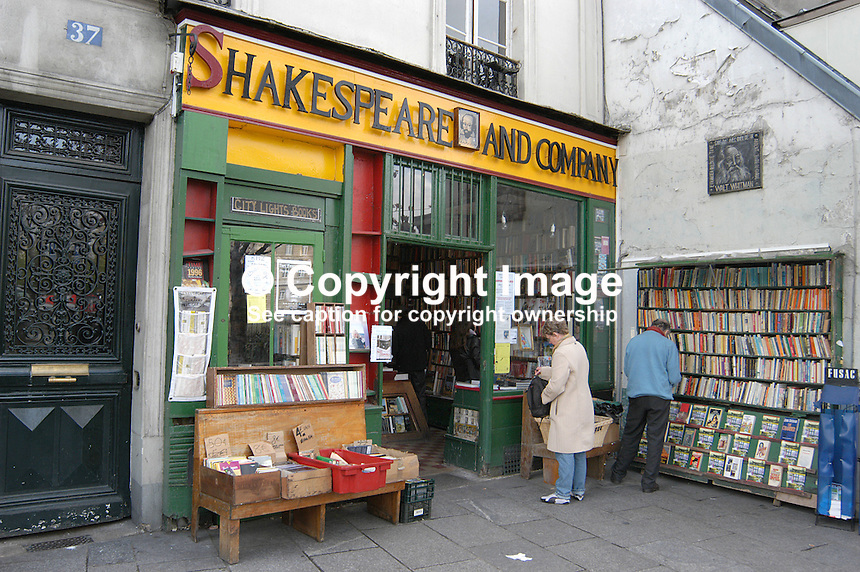 The famous Shakespeare & Company bookshop in Paris, France. Has free accomodation for struggling writers on the premises. Ref: 200304034531...Copyright Image from Victor Patterson, 54 Dorchester Park, Belfast, UK, BT9 6RJ..Tel: +44 28 9066 1296.Mob: +44 7802 353836.Voicemail +44 20 8816 7153.Skype: victorpattersonbelfast.Email: victorpatterson@mac.com.Email: victorpatterson@ireland.com (back-up)..IMPORTANT: If you wish to use this image or any other of my images please go to www.victorpatterson.com and click on the Terms & Conditions. Then contact me by email or phone with the reference number(s) of the image(s) concerned.