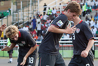 Alex Shinsky celebrates his goal with Andrew Craven and Tyler Polak. US Men's National Team Under 17 defeated Malawi 1-0 in the second game of the FIFA 2009 Under-17 World Cup at Sani Abacha Stadium in Kano, Nigeria on October 29, 2009.