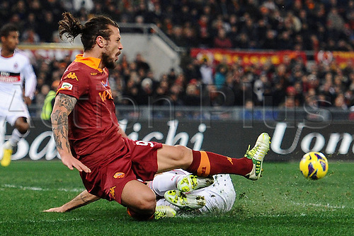 22.12.2012. Rome, Italy.   Daniel Pablo tackles Osvaldo at the Stadio Olimpico Football  Serie A Roma versus Inter Milan The game ended in a 4-2 win for Roma.