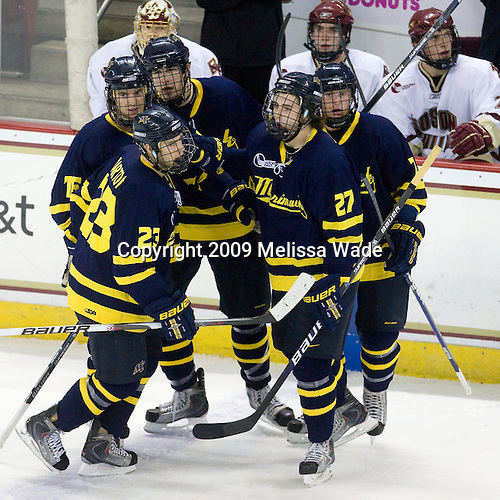 Chris Barton (Merrimack - 23), J.C. Robitaille (Merrimack - 16), Kyle Bigos (Merrimack - 3), Jesse Todd (Merrimack - 27), Karl Stollery (Merrimack - 7) - The Boston College Eagles defeated the Merrimack College Warriors 4-3 on Friday, October 30, 2009, at Conte Forum in Chestnut Hill, Massachusetts.