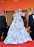 "CANNES, FRANCE. May 15, 2019: Elle Fanning greets General Delegate Thierry Fremaux at the gala premiere for ""Les Miserables"" at the Festival de Cannes.<br /> Picture: Paul Smith / Featureflash"