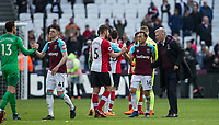 Full time as West Ham United Manager David Moyes approaches Mark Noble of West Ham United during the EPL - Premier League match between West Ham United and Southampton at the Olympic Park, London, England on 31 March 2018. Photo by Andy Rowland.