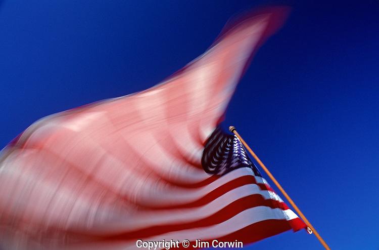 American Flag blurred waving in the wind