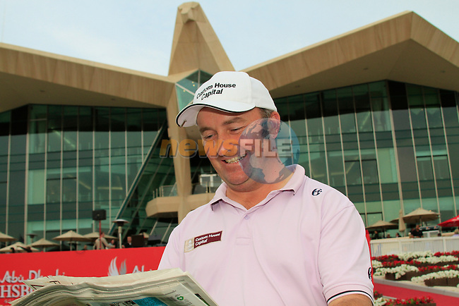 Damien McGrane outside the clubhouse after his round on Day 3 Saturday of the Abu Dhabi HSBC Golf Championship, 22nd January 2011..(Picture Eoin Clarke/www.golffile.ie)