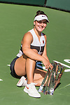 March 17, 2019: Bianca Andreescu (CAN) poses with the trophy after she defeated Angelique Kerber (GER) 6-4, 3-6, 6-4 in the finals of the BNP Paribas Open at the Indian Wells Tennis Garden in Indian Wells, California. ©Mal Taam/TennisClix/CSM