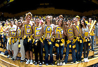 California fans with letters painted on their chests pose together for group photo before the game between California and Arizona at Haas Pavilion in Berkeley, California on February 2nd, 2012.  Arizona defeated California, 78-74.