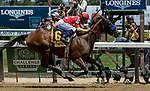 ELMONT, NY - JUNE 09: Abel Tasman  #6, ridden by Mike Smith, wins the Ogden Phipps Stakes on Belmont Stakes Day at Belmont Park on June 9, 2018 in Elmont, New York. (Photo by Sue Kawczynski/Eclipse Sportswire/Getty Images)