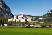 Austria, Styria, Trautenfels: Castle-Museum Trautenfels, at background village Puergg-Trautenfels, since 2015 new comunity name Stainach-Puergg | Oesterreich, Steiermark, Trautenfels: Schloss-Museum Trautenfels, im Hintergrund die Ortschaft Puergg-Trautenfels, seit Januar 2015 ist der neue Gemeindename Stainach-Puergg