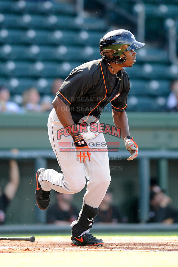 Outfielder Roderick Bernadina (11) of the Delmarva Shorebirds bats in a game against the Greenville Drive on Monday, April 29, 2013, at Fluor Field at the West End in Greenville, South Carolina. Delmarva won, 6-5. (Tom Priddy/Four Seam Images)