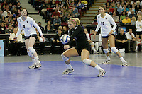 15 December 2007: Stanford Cardinal Gabi Ailes (9), Cassidy Lichtman (8), and Alix Klineman (10) during Stanford's 25-30, 26-30, 30-23, 30-19, 8-15 loss against the Penn State Nittany Lions in the 2007 NCAA Division I Women's Volleyball Final Four championship match at ARCO Arena in Sacramento, CA.
