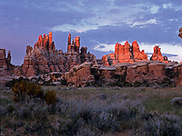 The last light of day illuminates the needles in Canyonlands National Park