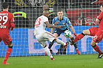 12.01.2018, BayArena, Leverkusen , GER, 1.FBL., Bayer 04 Leverkusen vs. FC Bayern M&uuml;nchen<br /> im Bild / picture shows: <br /> Torchnce f&uuml;r Arturo Vidal (Bayern Muenchen #23),  gegen Bernd Leno Torwart (Leverkusen #1), <br /> <br /> <br /> Foto &copy; nordphoto / Meuter