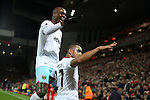 Dimitri Payet of West Ham United after scoring during the Premier League match at Anfield Stadium, Liverpool. Picture date: December 11th, 2016.Photo credit should read: Lynne Cameron/Sportimage