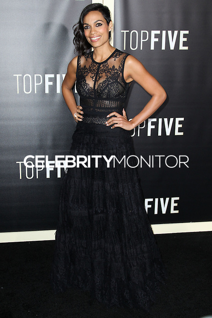 NEW YORK CITY, NY, USA - DECEMBER 03: Rosario Dawson arrives at the New York Premiere Of 'Top Five' held at the Ziegfeld Theatre on December 3, 2014 in New York City, New York, United States. (Photo by Celebrity Monitor)