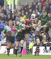14/04/2002.Sport - Rugby Union.Madjeski Stadium - Reading.Zurich Premiership.London Irish vs Harlequins.Quins Steve White-Cooper,  collects the high ball....