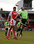 Alex John-Baptiste of Sheffield Utd tussles with Victor Nirennold of Fleetwood Town  - English League One - Fleetwood Town vs Sheffield Utd - Highbury Stadium - Fleetwood - England - 5rd March 2016 - Picture Simon Bellis/Sportimage