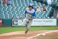 Troy Squires (16) of the Kentucky Wildcats rounds third base against the Houston Cougars in game two of the 2018 Shriners Hospitals for Children College Classic at Minute Maid Park on March 2, 2018 in Houston, Texas.  The Wildcats defeated the Cougars 14-2 in 7 innings.   (Brian Westerholt/Four Seam Images)