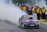 May 10, 2013; Commerce, GA, USA: NHRA pro stock driver Jason Line during qualifying for the Southern Nationals at Atlanta Dragway. Mandatory Credit: Mark J. Rebilas-