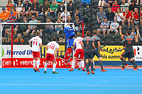 England goalkeeper George Pinner makes a save during the Hockey World League Semi-Final match between England and Netherlands at the Olympic Park, London, England on 24 June 2017. Photo by Steve McCarthy.