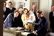 August 1983, New York City. Kennedy TV miniseries written by Reg Gadney and directed by Jim Goddard. Aired on the 20th of November 1983 for the 20th anniversary of the Kennedy assassination. Photo of the stars, Martin Sheen as President John F. Kennedy, John Shea as Robert F. Kennedy and Blair Brown as Jacqueline Kennedy.