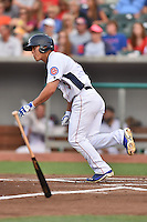 Tennessee Smokies center fielder Jae-Hoon Ha #3 runs to first during a game against the Jacksonville Suns at Smokies Park July 10, 2014 in Kodak, Tennessee. The Suns defeated the Smokies 6-5. (Tony Farlow/Four Seam Images)