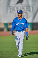 Jeremy Arocho (8) of the Ogden Raptors before the game against the Orem Owlz at Lindquist Field on June 26, 2018 in Ogden, Utah. The Raptors defeated the Owlz 6-5. (Stephen Smith/Four Seam Images)