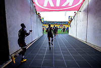 The Sharks run out for the Super Rugby match between the Hurricanes and Sharks at Sky Stadium in Wellington, New Zealand on Saturday, 15 February 2020. Photo: Dave Lintott / lintottphoto.co.nz