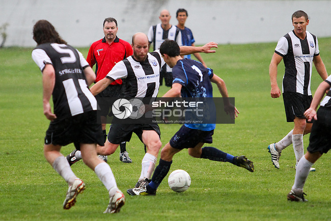 Nelson Pine Industries Division One Football: Nelson College v FC Nelson Sprig &amp; Fern, 13 April 2013, The Broads, Nelson, New Zealand<br /> Photo: Marc Palmano/shuttersport.co.nz