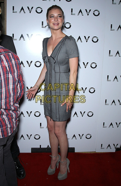 Emily VanCamp.celebrate her birthdays at Lavo inside The Palazzo Las Vegas, Nevada, USA  3rd December 2011 .full length gray grey dress  .CAP/ADM/MJT.© MJT/AdMedia/Capital Pictures.