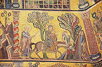 The Medieval mosaics of the ceiling of The Baptistry of Florence Duomo ( Battistero di San Giovanni ) showing Joseph,  Mary and the baby Jesus on a donkey travelling to Egypt,  started in 1225 by Venetian craftsmen in a Byzantine style and completed in the 14th century. Florence Italy
