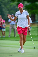 Lee-Anne Pace (ZAF) sinks her birdie putt on 1 during Saturday's third round of the 72nd U.S. Women's Open Championship, at Trump National Golf Club, Bedminster, New Jersey. 7/15/2017.<br /> Picture: Golffile | Ken Murray<br /> <br /> <br /> All photo usage must carry mandatory copyright credit (&copy; Golffile | Ken Murray)