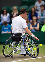 Gordon Reid (2) with partner Alfie Hewett (obscured) preparing to serve during their Gentlemen's Wheelchair Doubles Final on Court 3 against Stephane Houdet and Nicolas Peifer (1) of France<br /> <br /> Photographer Ashley Western/CameraSport<br /> <br /> Wimbledon Lawn Tennis Championships - Day 12 - Saturday 15th July 2017 -  All England Lawn Tennis and Croquet Club - Wimbledon - London - England<br /> <br /> World Copyright &not;&copy; 2017 CameraSport. All rights reserved. 43 Linden Ave. Countesthorpe. Leicester. England. LE8 5PG - Tel: +44 (0) 116 277 4147 - admin@camerasport.com - www.camerasport.com