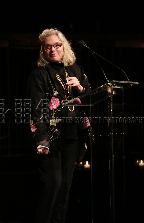 Marsha Norman on stage at the  2017 Dramatists Guild Foundation Gala presentation at Gotham Hall on November 6, 2017 in New York City.
