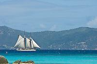 Sail boats seen from Trunk Cay<br /> St John, US Virgin Islands