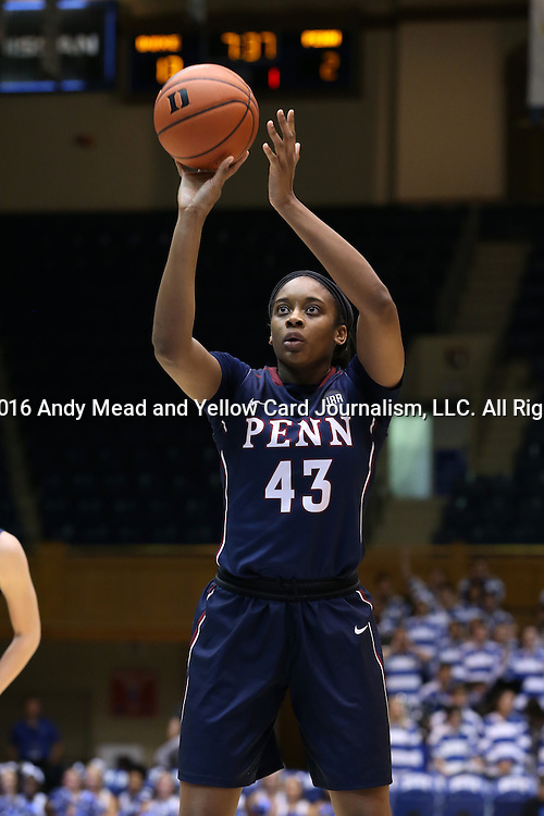 13 November 2016: Penn's Michelle Nwokedi. The Duke University Blue Devils hosted the University of Pennsylvania Quakers at Cameron Indoor Stadium in Durham, North Carolina in a 2016-17 NCAA Division I Women's Basketball game. Duke defeated Penn 68-55.