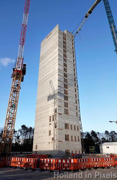 Nederland Amsterdam - September 2018. Bouw van EMA. European Medicines Agency. Het gebouw heeft zijn hoogste punt bereikt. Foto Berlinda van Dam / Hollandse Hoogte