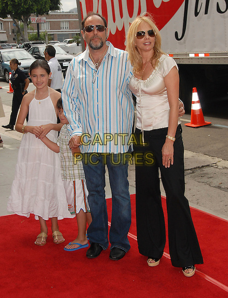 "ROSANNA ARQUETTE & FAMILY.Attends The Paramount Pictures' World Premiere of ""Barnyard"" held at The Arclight Theatre in Hollywood, California, USA,.July 30, 2006..full length sunglasses black wide leg trousers platform shoes open toe cream satin top aviators children daughter.Ref: DVS.www.capitalpictures.com.sales@capitalpictures.com.©Debbie VanStory/Capital Pictures"
