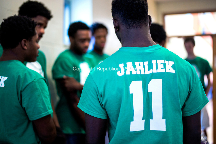 """WATERBURY, CT- 13 November 2016-111316CM07- Members of """"Team Jahliek"""", including Kennedy High Schooler, Tyone Sparks (11) participate in a basketball tournament in Waterbury on Sunday.  The team was named after Jahliek Diudonne, who was killed on  November 5, 2016.  Christopher Massa Republican-American"""