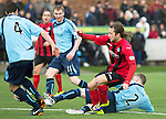 Forfar Athletic v St Johnstone....08.02.14   Scottish Cup 5th Round<br /> Mark Baxter tackles Stevie May<br /> Picture by Graeme Hart.<br /> Copyright Perthshire Picture Agency<br /> Tel: 01738 623350  Mobile: 07990 594431