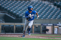 MJ Melendez (16), of the Kansas City Royals, hustles to first base during an Instructional League game against the Arizona Diamondbacks at Chase Field on October 14, 2017 in Scottsdale, Arizona. (Zachary Lucy/Four Seam Images)