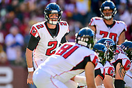 Landover, MD - November 4, 2018: Atlanta Falcons quarterback Matt Ryan (2) call out an audible at the line of scrimmage during game between the Atlanta Falcons and the Washington Redskins at FedEx Field in Landover, MD.The Falcons defeated the Redskins 38-13. (Photo by Phillip Peters/Media Images International)