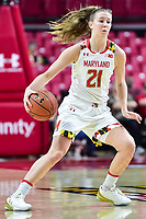College Park, MD - NOV 21, 2017: Maryland Terrapins guard Sarah Myers (21) in action during game between the Howard Lady Bison and the Maryland Terrapins at the XFINITY Center in College Park, MD.  (Photo by Phil Peters/Media Images International)