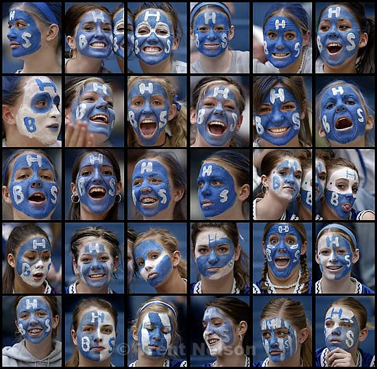Bingham fans with painted faces,5A girls high school State basketball Championships<br />