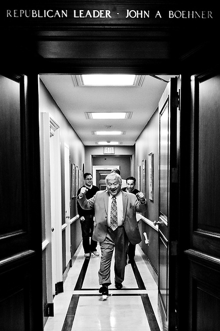 Rep. Mike Honda, D-Calif., celebrates after delivering a basket of garlic to House Minority Leader John Boehner's office in the U.S. Capitol on Oct. 2, 2009. The delivery was promted by Rep. Boehner's comparison of the popularity of public option health care proposals to a garlic milkshake.
