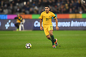 June 13th 2017, Melbourne Cricket Ground, Melbourne, Australia; International Football Friendly; Brazil versus Australia; Massimo Luongo of Australia looking to pass across the field