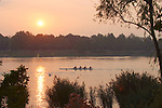 Rowing, Sunrise workout, FISA World Rowing Championships, Idroscalo Park, Milan, Lombardy, Italy, Europe, women's four, W4-,.2003