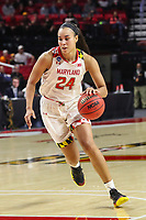 College Park, MD - March 23, 2019: Maryland Terrapins forward Stephanie Jones (24) drives to the basket during game between Radford and Maryland at  Xfinity Center in College Park, MD.  (Photo by Elliott Brown/Media Images International)